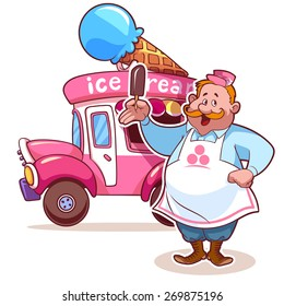 Cartoon ice cream car with the seller. Fat man in apron. Pink car. Vector clip-art illustration on a white background.