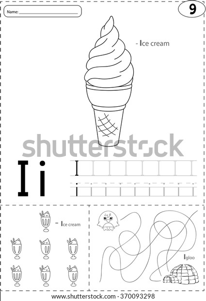 Cartoon Ice Cream Igloo Alphabet Tracing Stock Vector Royalty Free 370093298