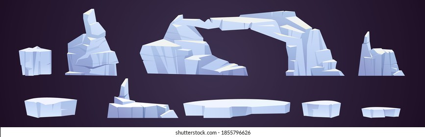 Cartoon ice floes, frozen iceberg pieces, glaciers of different shapes. Arctic or north pole snow crystal blocks isolated on dark background, design elements, nature objects, vector illustration, set