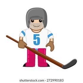 Cartoon Ice Hockey Player