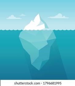 Cartoon iceberg background. Iceberg underwater view. Vector