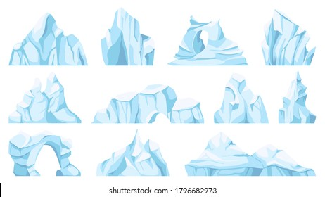Cartoon iceberg. Drifting arctic glacier or ice rock. Frozen water, antarctic ice peaks, icy mountain for game, nature objects vector set. North pole broken pieces or ice blocks and bergs