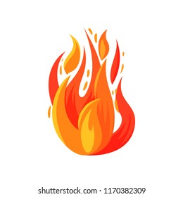 Cartoon icon of brightly blazing fire. Burning campfire. Bright red-orange flame. Flat vector for mobile game, sticker or poster