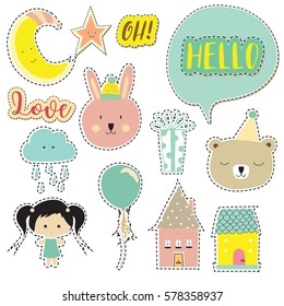 Cartoon icon collection with bear,gift,balloon,cloud,moon,star,house and wording icon:hello,oh,love