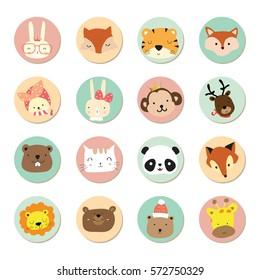 Cartoon icon collection with rabbit,fox,tiger,monkey,reindeer,panda,bear,lion,cat and giraffe