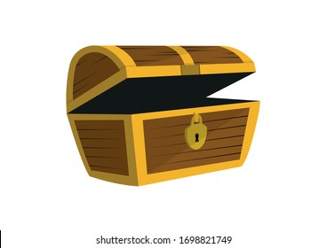 Cartoon icon with empty wooden pirate chest opened with golden metal stripes and dark keyhole on white background - Vector