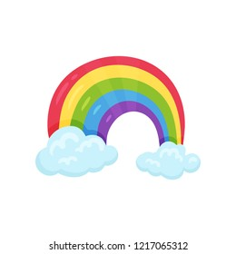 Cartoon icon of multicolored rainbow with two blue clouds Flat vector element for children room decor or greeting card