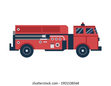 Cartoon icon of red firetruck or car, flat vector illustration isolated on white background. Fire fighting crew special transportation or fire engine.
