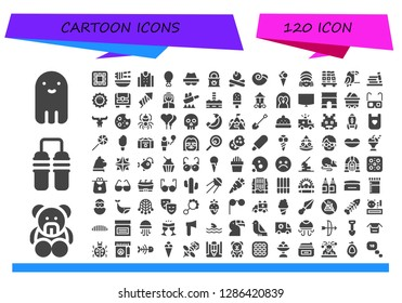 cartoon icon set. 120 filled cartoon icons. Simple modern icons about  - Ghost, Teddy bear, Nunchaku, Waffle, Noodle, Police station, Chicken leg, Hacker, Tinned food, Campfire