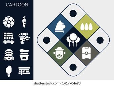 cartoon icon set. 13 filled cartoon icons.  Collection Of - Balloons, Ice cream, Smore, Rasta, Bookshelf, Water gun, Soccer ball, Carrot, Cat, Clown, Football