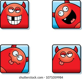 A cartoon icon set of a devil with silly expressions.