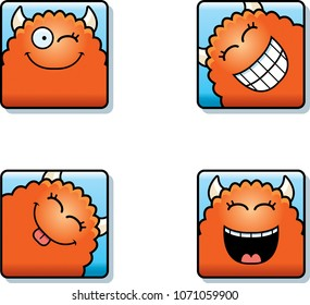 A cartoon icon set of a monster with happy expressions.