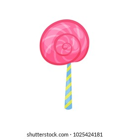 Cartoon icon of strawberry lollipop in flat style. Tasty spiral candy on stick. Colorful vector design element for Happy Birthday card or sweet shop