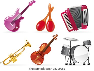 cartoon icons of 6 musical instruments