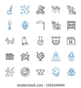 cartoon icons set. Collection of cartoon with ladybug, bird, joker, chicken leg, bubbles, frozen yogurt, ice cream, shelf, roller coaster. Editable and scalable cartoon icons.