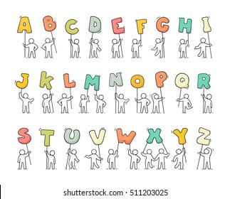 Cartoon icons set of sketch little people with letters. Doodle cute workers with alphabet. Hand drawn vector illustration for education design.