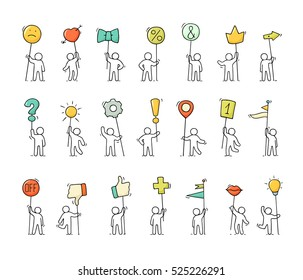 Cartoon icons set of sketch little people with life symbols. Doodle cute miniature scenes of workers with smile, arrow, flags. Hand drawn vector illustration for web design and infographic