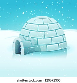 Cartoon Igloo In Polar Winter Landscape/ Illustration of a cartoon eskimo igloo inside white snowy polar winter landscape