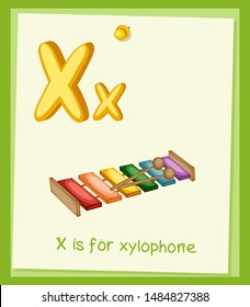 Cartoon Illustrated Alphabet Flashcard. Preschool Educational Illustration. X is for Xylophone. Cartoon Vector Xylophone  with Letter X