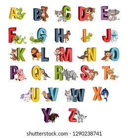 Cartoon Illustrated Animal Alphabet. Alligator, Bear, Cat, Dog, Elephant, Frog, Grasshopper, Horse, Iguana, Jellyfish, Kangaroo, Lion, Monkey, Nightingale, Owl, Pig, Quail, Zebra. Letters from A to Z