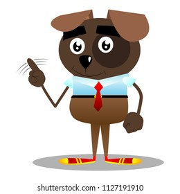 Cartoon illustrated business dog saying no with his finger.