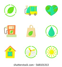 Cartoon illustration of 9 natural environment vector icons for web