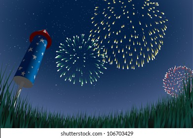 Cartoon illustration of an aerial fireworks display, viewed from a low angle with an unlit aerial firework sitting in a grassy field in the foreground.
