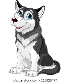 Cartoon illustration of Alaskan Malamute dog