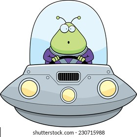 A cartoon illustration of an alien in a UFO looking surprised.