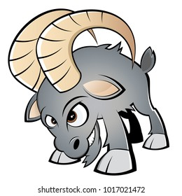 cartoon illustration of an angry ram or goat