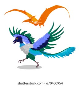 Cartoon illustration of Archaeopteryx and Pterodactyl. Flying dinosaurs: dragon bird of the Jurassic period. Comical decorative orange color pterodactyl and blue archaeopteryx. Isolated vector dragons