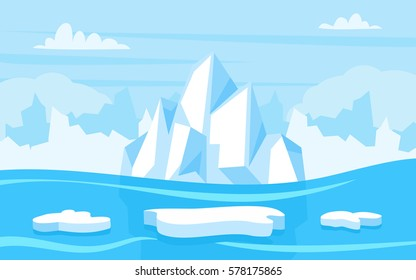 Cartoon illustration of arctic landscape with blue sky and iceberg, game background