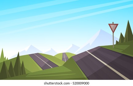 Cartoon illustration of the asphalt road over mountain.