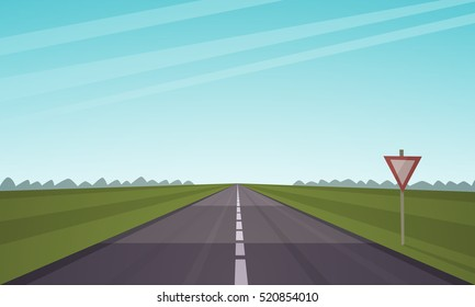 Cartoon illustration of the asphalt road over the field.