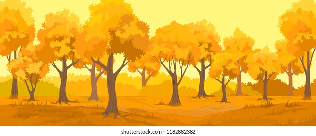 Cartoon illustration of the autumn rural landscape