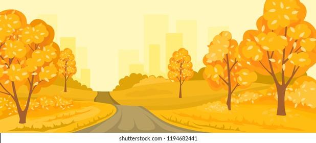 Cartoon illustration of the autumn rural landscape