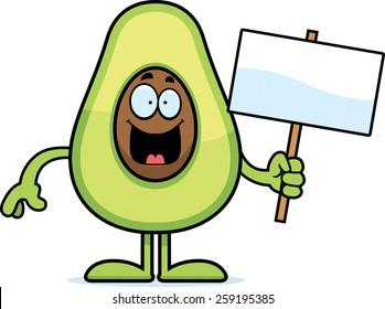 A cartoon illustration of an avocado holding a sign.