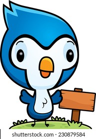 A cartoon illustration of a baby blue jay with a wooden sign post.