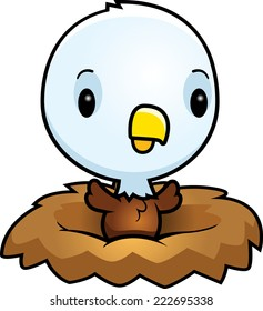 A cartoon illustration of a baby eagle in a nest.