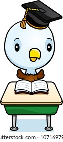 A cartoon illustration of a baby eagle student sitting at a classroom desk.