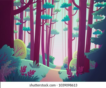 Cartoon illustration background of fantasy forest with pink trees
