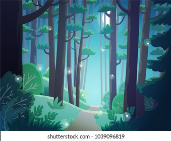 Cartoon illustration background of forest at night with fireflies