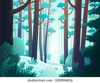 Cartoon illustration background of freezing forest in winter
