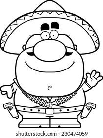 A cartoon illustration of a bandito waving.