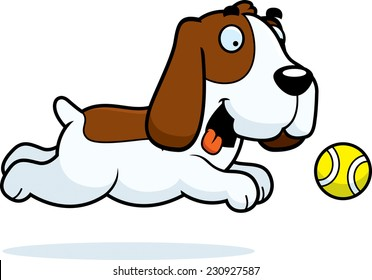 A cartoon illustration of a Basset Hound chasing a ball.