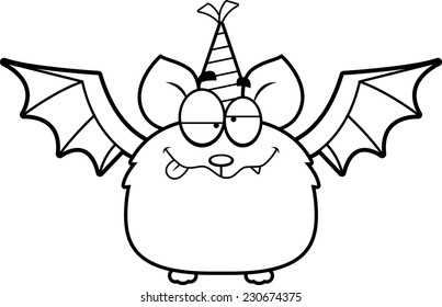 A cartoon illustration of a bat with a party hat looking drunk.