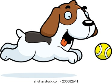 A cartoon illustration of a Beagle chasing a ball.