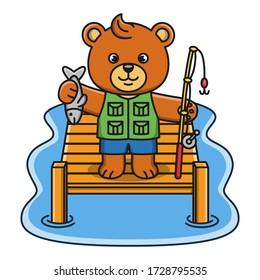 Cartoon illustration of a bear fishing