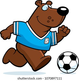 A cartoon illustration of a bear playing soccer.