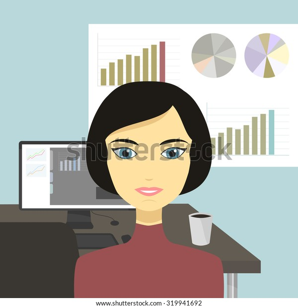 Cartoon illustration of a beautiful woman is working in the office.